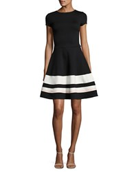 Design Lab Lord And Taylor Striped Fit Flare Dress Black