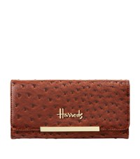 Harrods Novello Ostrich Embossed Flap Front Wallet Unisex
