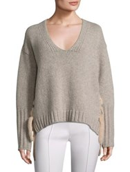 Agnona Wool Cashmere And Mink Pullover Taupe