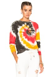 Nsf Saguo Long Sleeve Tee In Green Ombre And Tie Dye Red Yellow White Green Ombre And Tie Dye Red Yellow White