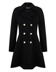 Miss Selfridge Fit And Flare Double Breasted Coat Black
