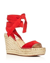 Kenneth Cole Odile Ankle Tie Espadrille Wedge Sandals Red