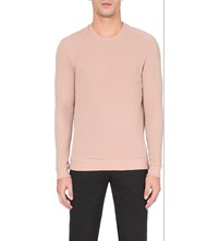 Reiss Hatter Quilted Cotton Jersey Jumper Rose