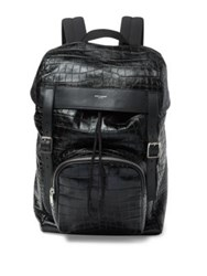 Saint Laurent Croc Skin Embossed Calf Leather Backpack Black
