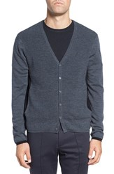 Zachary Prell Men's Colorblock Wool Button Cardigan Charcoal