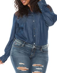 Slink Jeans Plus Western Denim Button Down Shirt Bianca