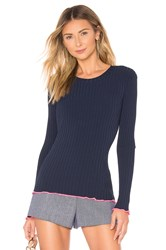 Milly Contrast Edge Pullover Navy