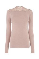 Warehouse Lace High Neck Jumper Pink