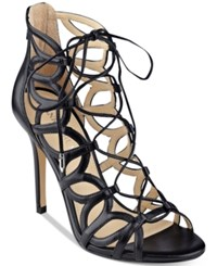 Ivanka Trump Hela Strappy Lace Up Sandals Women's Shoes Black Leather