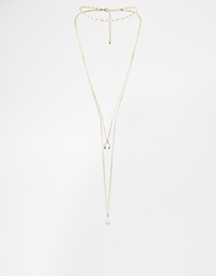 Asos Fine Faux Pearl Choker And Wishbone Multirow Necklace Gold