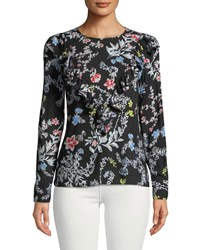 Philosophy Long Sleeve Ruffled Floral Woven Blouse Black Pattern