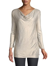 Majestic Viscelas 3 4 Sleeve Draped Top Copper Gris Chine