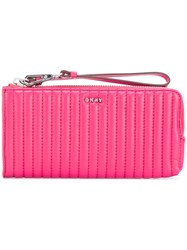 Dkny Quilted Pinstripe Wallet Women Leather One Size Pink Purple