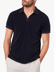 Jaeger Open Collar Terry Towelling Polo Shirt Navy