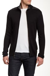 Dkny Woven Full Zip Sweater Black