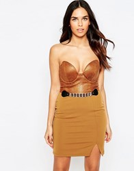 Rare Faux Leather Belted Bandeau Mini Dress Brown