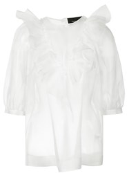 Simone Rocha Sheer Ruffle Top White