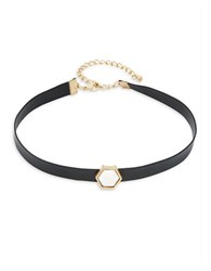 Design Lab Lord And Taylor Hexagon Geometric Accented Choker Necklace Black