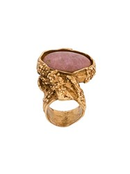 Saint Laurent Stone Ring Gold