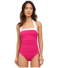 Lauren Ralph Lauren Bel Aire Shirred Bandeau Mio Slimming Fit W Soft Cup Pink Women's Swimsuits One Piece
