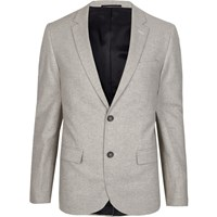 River Island Grey Cropped Skinny Fit Suit Jacket