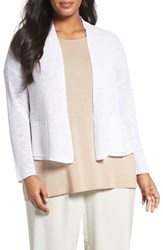 Eileen Fisher Plus Size Women's Organic Linen And Cotton Crop Cardigan White