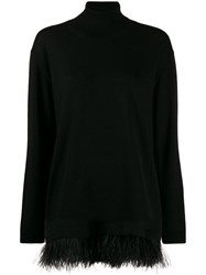 P.A.R.O.S.H. Roll Neck Feather Trim Sweater Black