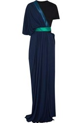 Vionnet Color Block Layered Stretch Georgette Gown Navy