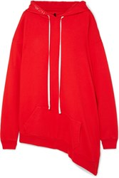 Unravel Project Asymmetric Cotton Terry Hoodie Red