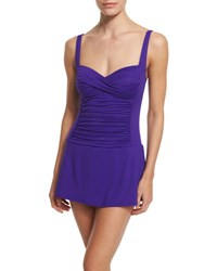 Lablanca Ruched Sweetheart Swimdress Grape