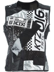 Ktz Patchwork Zip Up Top Black