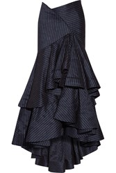 Rosie Assoulin Bidi Bidi Bom Bom Pinstriped Stretch Linen Blend Maxi Skirt