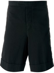 Moncler Gamme Bleu Logo Patch Textured Shorts Black