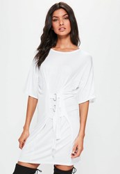 Missguided White Oversized Buckle Corset T Shirt Dress