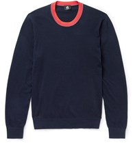 Paul Smith Contrast Trimmed Cotton Blend Sweater Blue