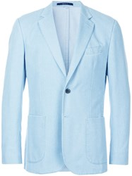 Hardy Amies Classic Blazer Cotton Viscose Blue
