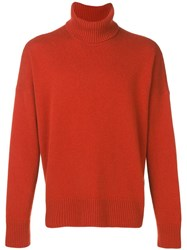 Ami Alexandre Mattiussi Turtleneck Oversize Sweater Orange