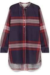 By Malene Birger Tilli Checked Linen And Cotton Blend Twill Top Navy