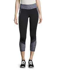 New Balance Cropped Athletic Leggings Black White