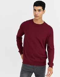 Celio Crew Neck Knit In Burgundy Red