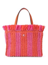 Kate Spade Striped Straw Tote Pink