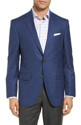 David Donahue Men's Big And Tall Connor Classic Fit Check Wool Sport Coat Medium Blue