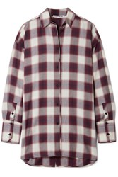 Elizabeth And James Clive Oversized Checked Cotton Shirt Purple