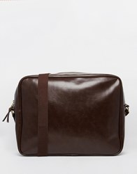 Asos Messenger Bag In Brown Faux Leather Brown