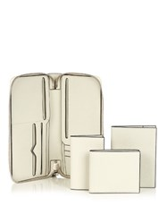 Valextra Four In One Grained Leather Travel Wallet White