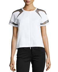Lafayette 148 New York Short Sleeve Jacket W Contrast Mesh Detail White