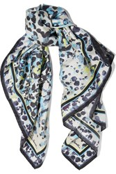 Roberto Cavalli Cheetah Print Silk Scarf Midnight Blue