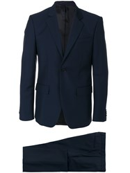 Givenchy Formal Fitted Two Piece Suit Cotton Acetate Cupro Wool Blue