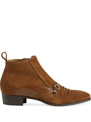 Gucci Buckle Detail Ankle Boots Brown