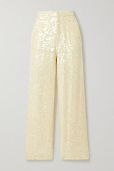 Sally Lapointe Paillette Embellished Georgette Straight Leg Pants Cream